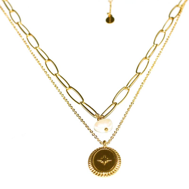 """DOPPELKETTE """"goldplattiert"""" mit Medallion"""
