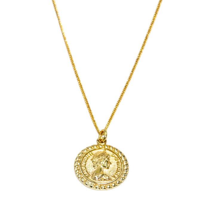 """HALSKETTE """"goldplattiert"""" mit Medallion"""
